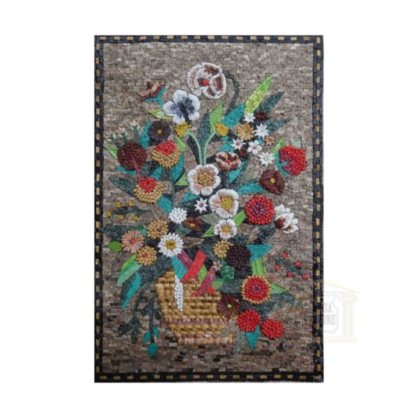 Colourful Flower Basket Marble Stone Mosaic Art