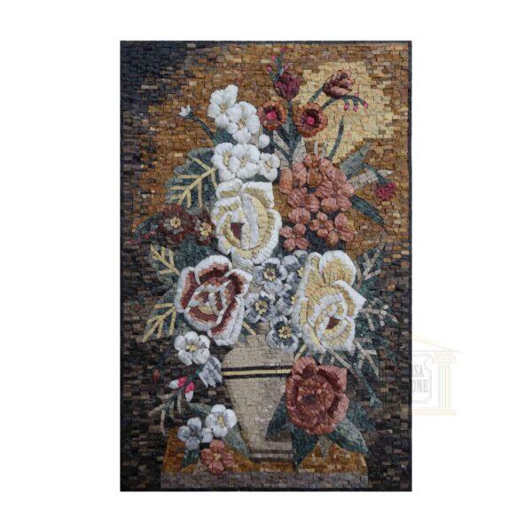 Flowers in The Dark Marble Stone Mosaic Art