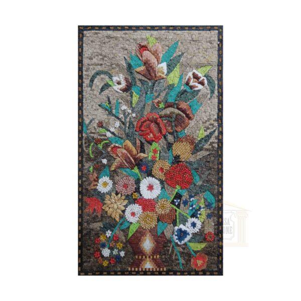 Legendary Flower Vase Marble Stone Mosaic Art