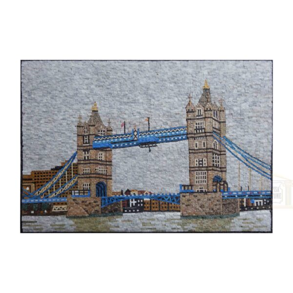 Tower Bridge and A Cloudy Day in London Marble Stone Mosaic Art