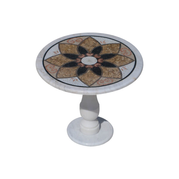 Acuminate slanted glazed polished marble mosaic circular table