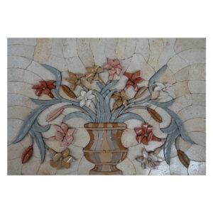 Autumn Flowers Marble Stone Mosaic Art