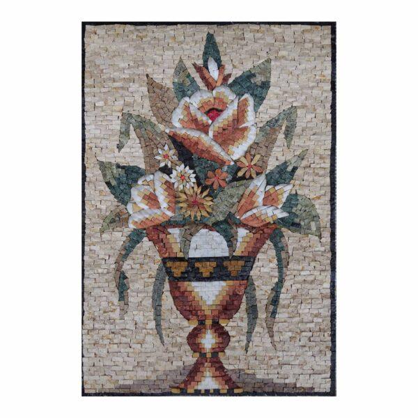 Beautiful Multicoloured Flowers Vase Marble Stone Mosaic Art