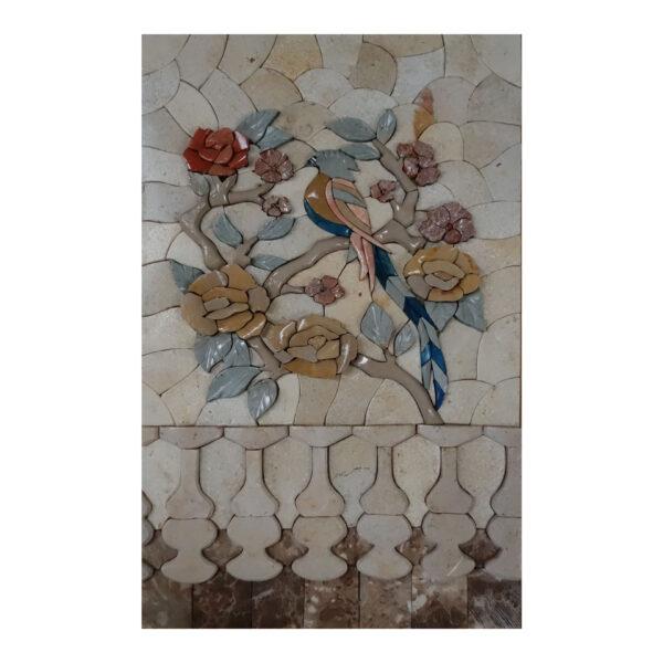 Bird Sitting On A Tree Marble Stone Mosaic Art