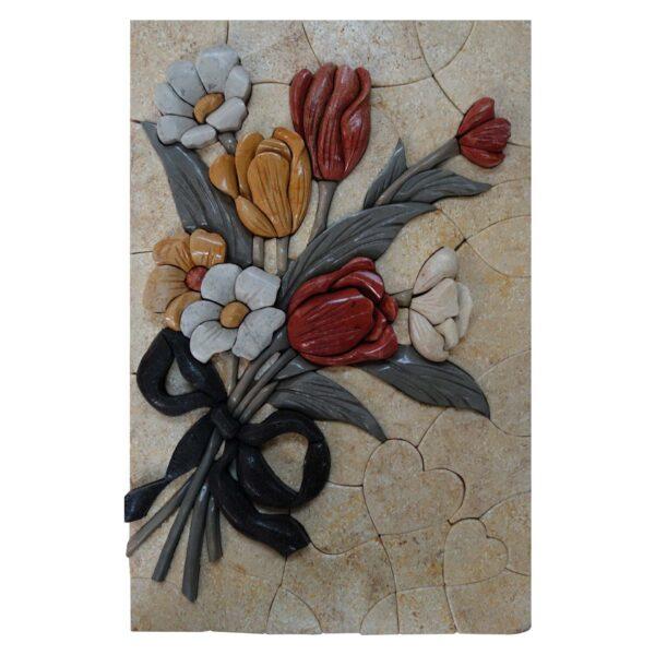 Black Ribbon Multicolored Flowers Bundle Marble Stone Mosaic Art