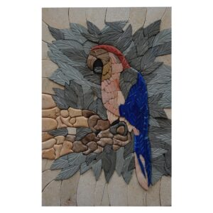 Blue Parrot Marble Stone Mosaic Art