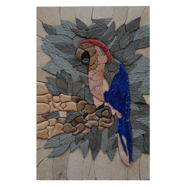 Blue Parrot Marble Stone Mosaic Art