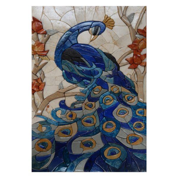 Blue Peafowl Marble Stone Mosaic Art