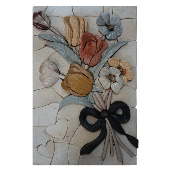 Bright charming multicolored flowers bundle marble, stone mosaic art