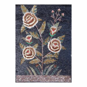 Bright Flowers Branch Marble Stone Mosaic Art