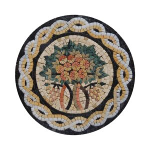 Circular Tree Of Life (White/Yellow) Marble Stone Mosaic Art