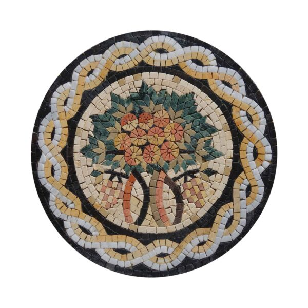 Circular Tree Of Life (White/Yellow) Marble Stone Mosaic Art