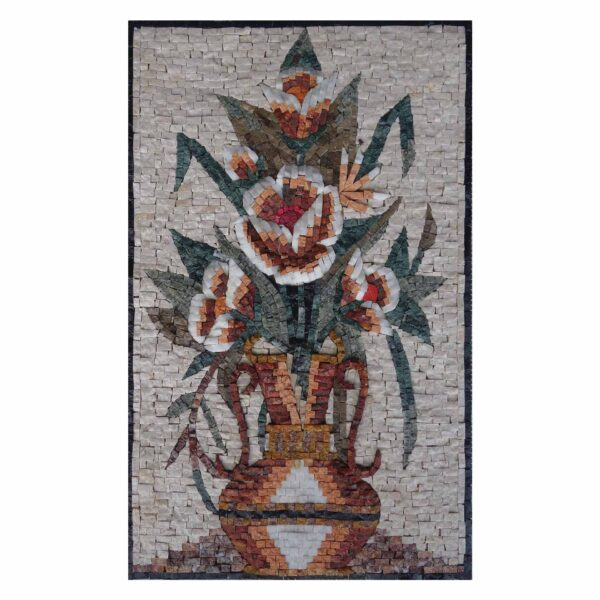 Summery Multicoloured Flowers Vase Marble Stone Mosaic Art