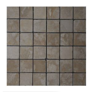 Brushed Antique Crema Marfil Limestone Mosaic tiles