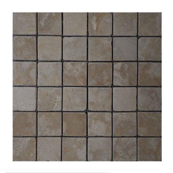 Brushed Antique Crema Marfil Limestone Mosaic tiles