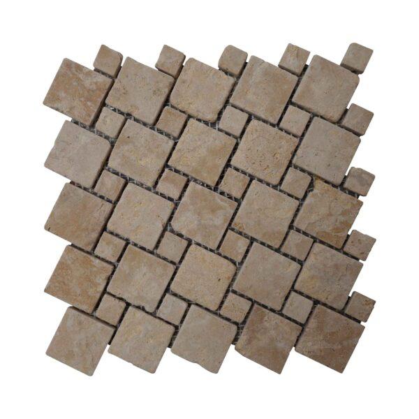 Brushed Antique Dark Yellow Limestone Mosaic tiles