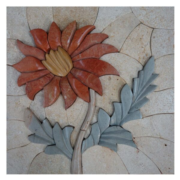Captivating Fower Cluster Marble Stone Mosaic Art