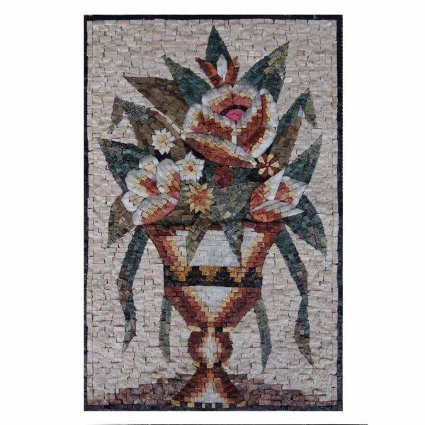 Amphora Multicoloured Artistic Flower Marble Stone Mosaic Art