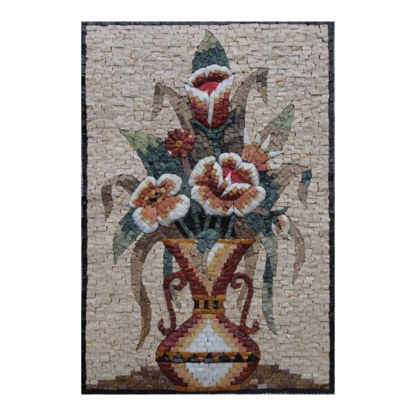 Amphora Bright Multicoulored Flowers Vase Marble Stone Mosaic Art
