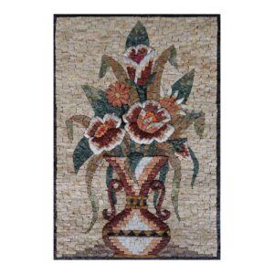 Amphora Multicoloured Flower Smooth Vase Marble Stone Mosaic Art