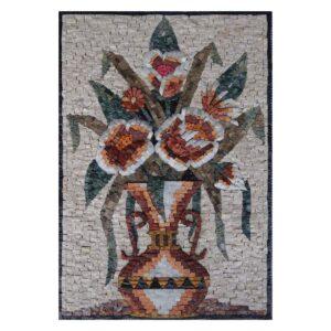 Amphora Multicoloured Flowers Vase Marble Stone Mosaic Art