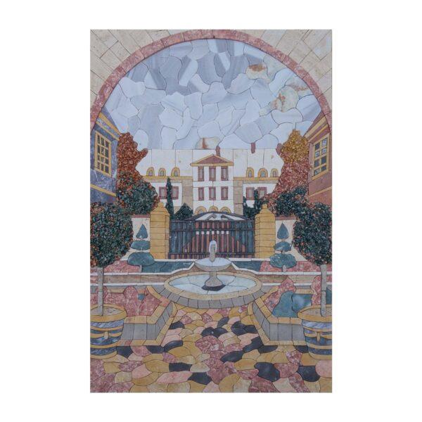 Classical Courtyard Fountain Marble Stone Mosaic Art