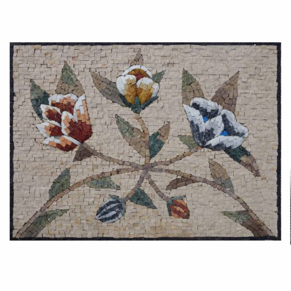 Classy Multicoloured Flower Bundle Marble Stone Mosaic Art
