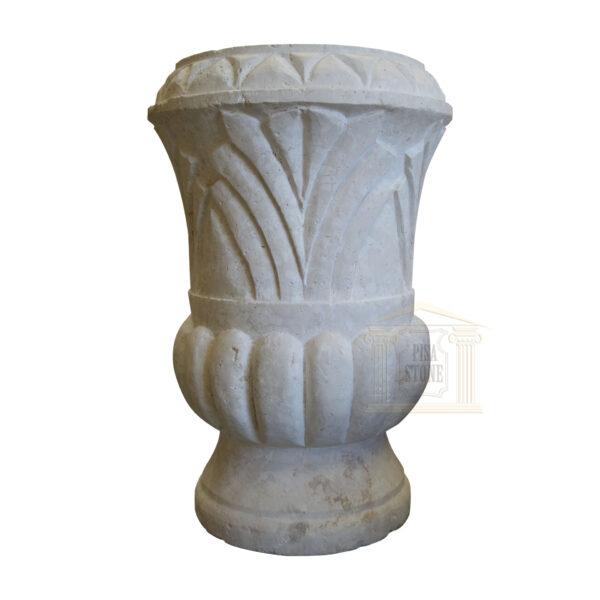 Hand Carved Matt White Limestone Urn Garden Stone urns, planters, vases