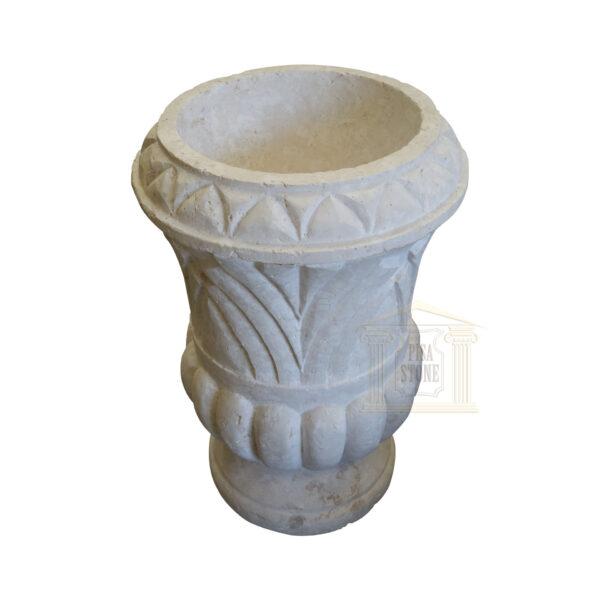 Hand Carved Matt White Limestone Urn Garden urns, planters, vases