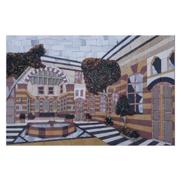 Damascene Courtyard Marble Stone Mosaic Art