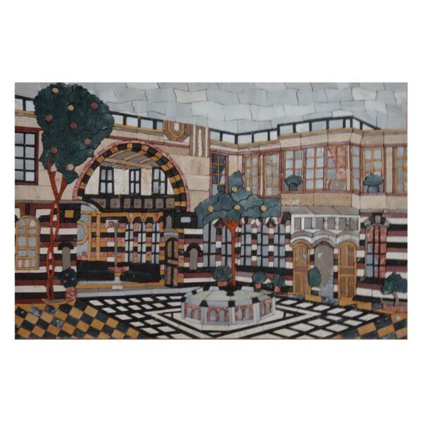 Damascene Fantastic Hypostyle Marble Stone Mosaic Art
