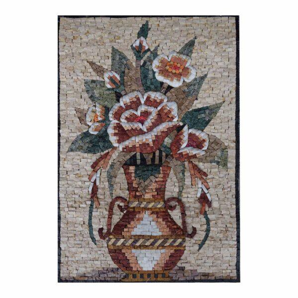 Embellished Multicoloured Flowers Vase Marble Stone Mosaic Art