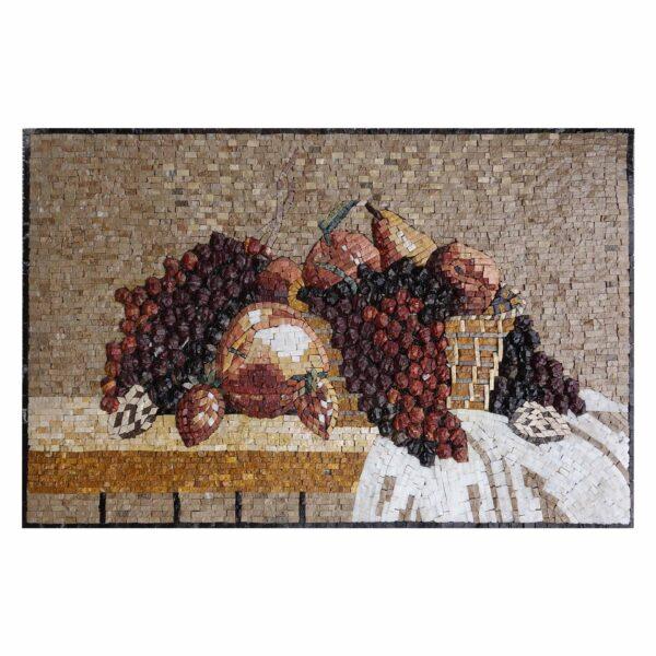Basket of Grapes Marble Stone Mosaic Art