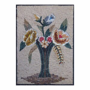 Expressive Multicoloured Flower Branch Marble Stone Mosaic Art