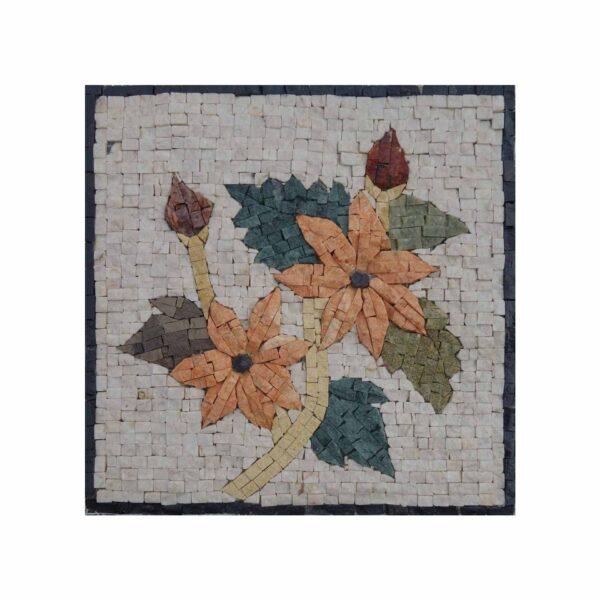 Expressive Simple Multicoloured Flower Bundle Marble Stone Mosaic Art