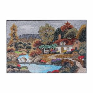 Colourful Countryside House Marble Stone Mosaic Art