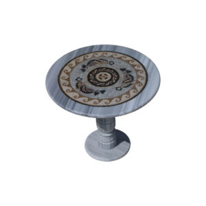 Fishery glazed polished marble mosaic circular table