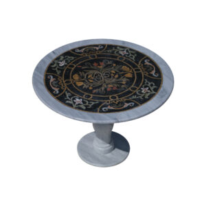 Flowering overlapping glazed polished marble mosaic circular table