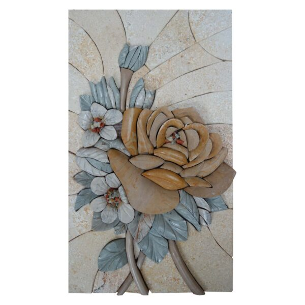 Flowers On The Side Marble Stone Mosaic Art