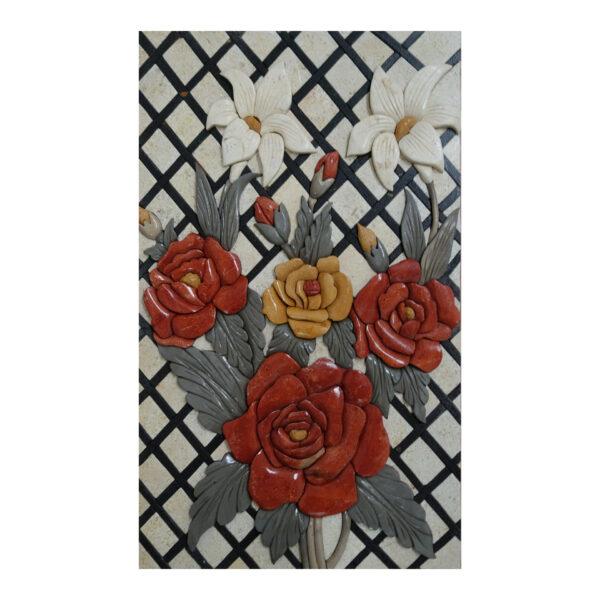 Four Roses Marble Stone Mosaic Art