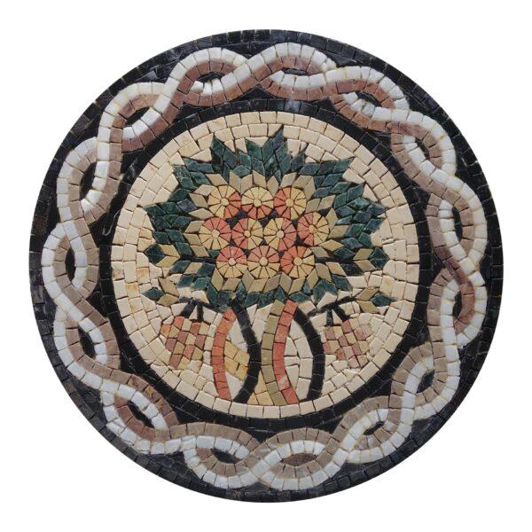 Circular Tree Of Life (White) Marble Stone Mosaic Art