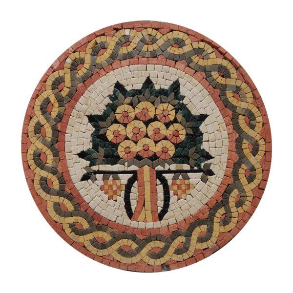 Circular Tree Of Wisdom Marble Stone Mosaic Art