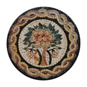 Circular Tree Of Life (Brown) Marble Stone Mosaic Art
