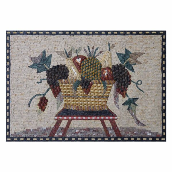 Basket Overloaded With Fruit Marble Stone Mosaic Art