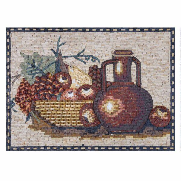 Fruit basket With Juice Jug Marble Stone Mosaic Art