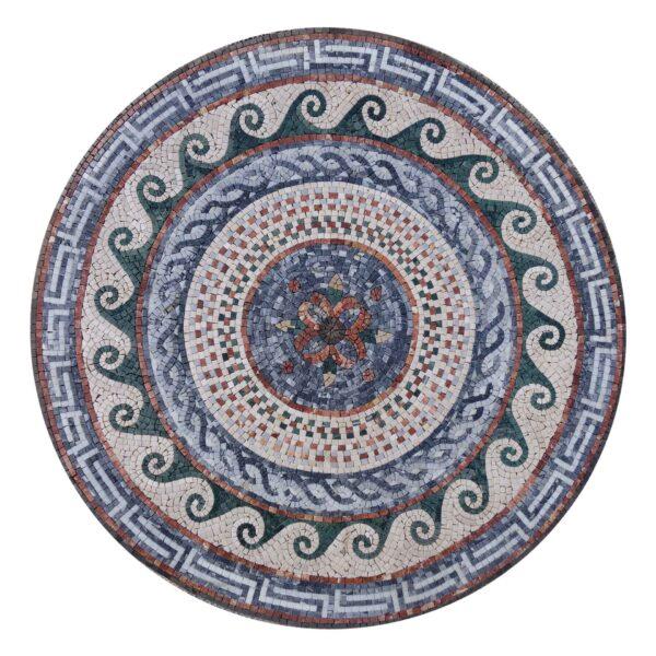 Circular Spiral Ornamented Marble Stone Mosaic Art