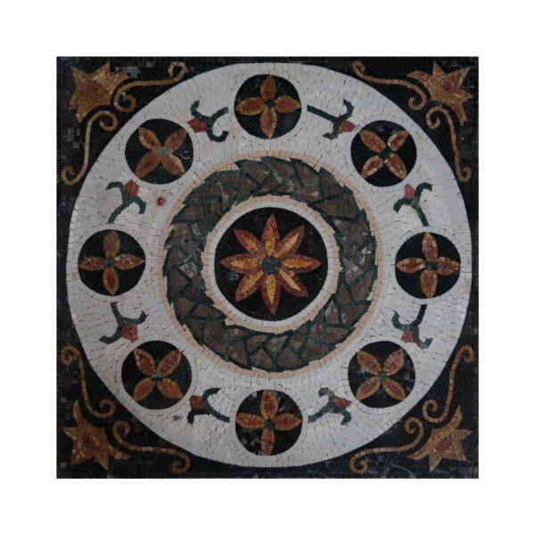 Glazed Polished Flowerly Ornamented Marble Stone Mosaic Art