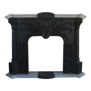 Glazed polished Black Basalt Fireplace