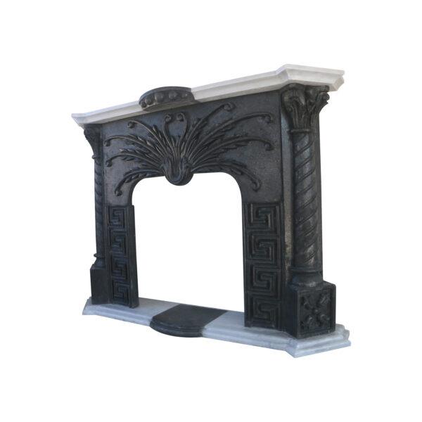 Glazed polished Black Basalt Fireplace