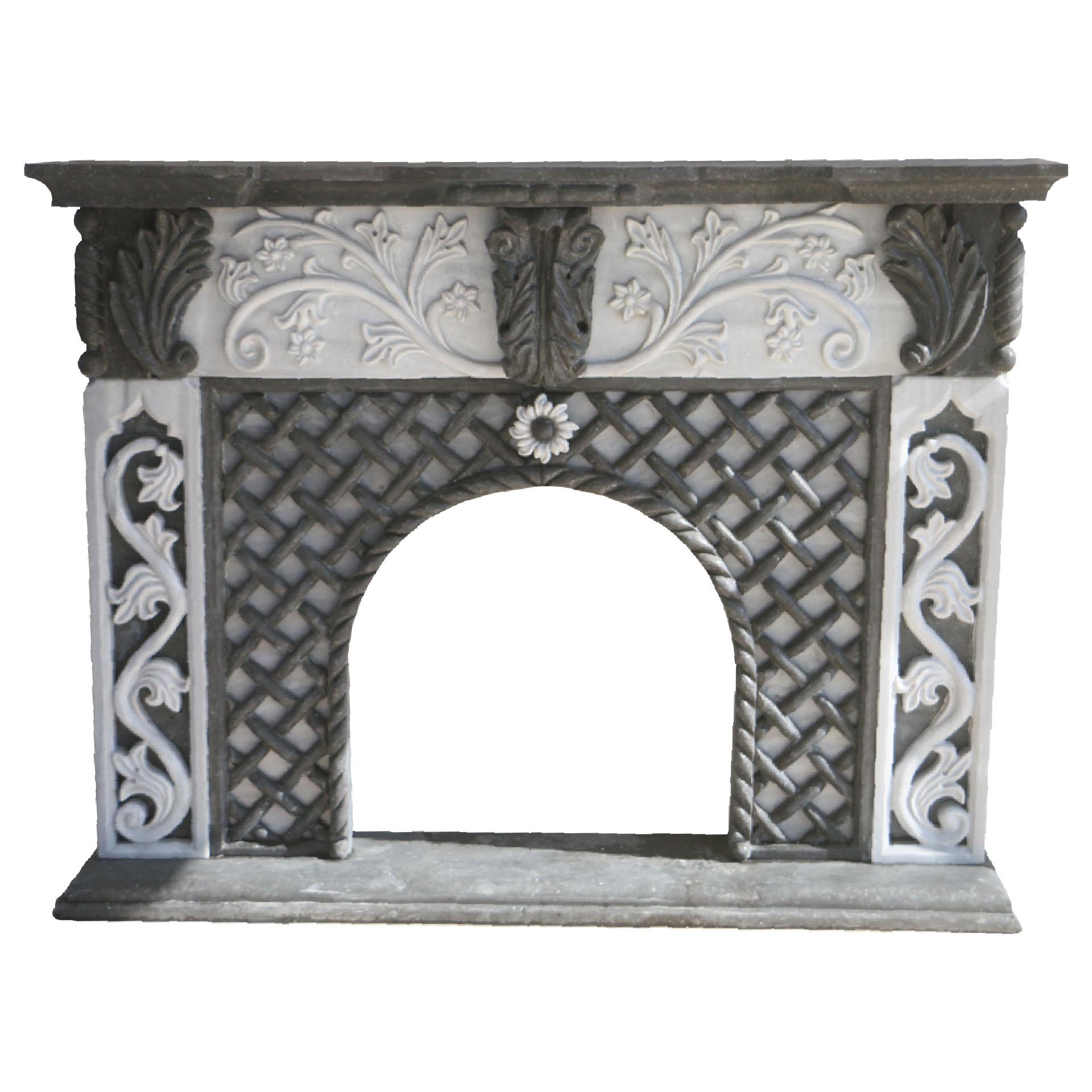Black Basalt And Marble Fireplace Surround Pisa Stone